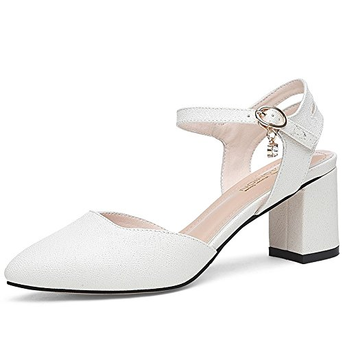 Women'S Coarse With Jqdyl Pointed White Heels Summer heels Spring Shoes And Fashion High Style New Shoes w08w1O