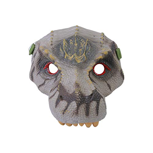 Binory Novelty Kids Cosplay Dinosaur Mask Face Prop Scary Toy, Dinosaur Fans Pretend Play Party Animal Head Mask Costume Made of Eco-Friendly and Safe Latex,Funny Prank Halloween April Fools Day(B)]()