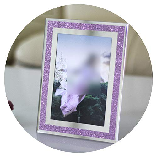 Crystal Glass Photo Frame Scrap Gold Shiny Mirror Tabletop Decoration Multi-Sized Originality Large Size Show-Show-Fashion,Purple,7 ()