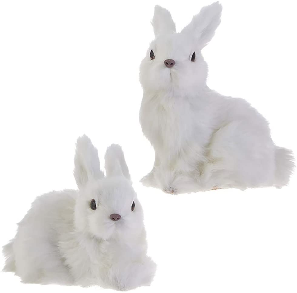 RAZ Imports Bunny Rabbit Figurines/Christmas Ornaments — Set of 2 Faux Fur Bunny Ornaments
