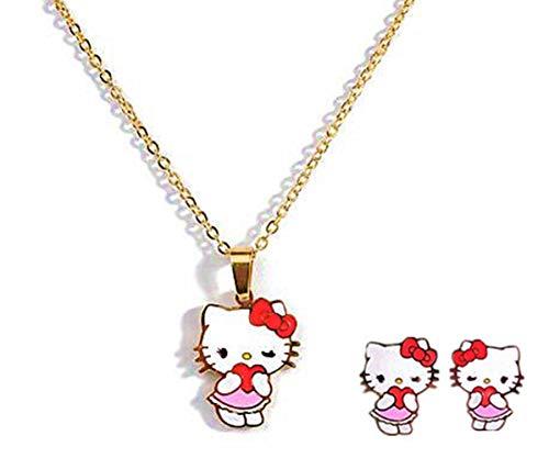 Kerr's Choice Hello Kitty Necklace Jewelry Hello Kitty Earrings | Hello Kitty Gift Set | Hello Kitty Accessories Girls Women Birthday Gift (Regular)