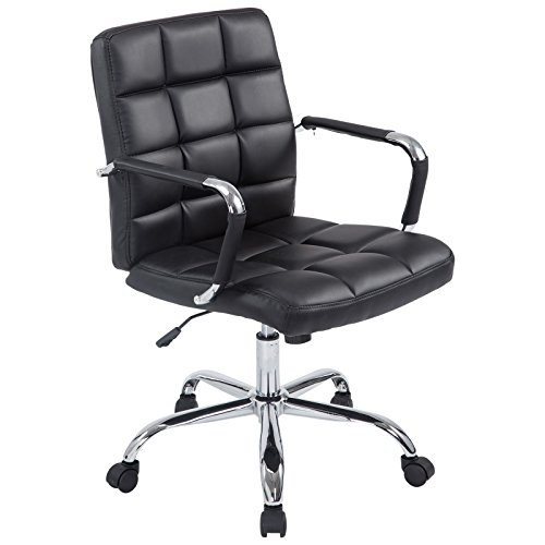 Manchester Swivel - Poly and Bark Manchester Office Chair in Vegan Leather, Black