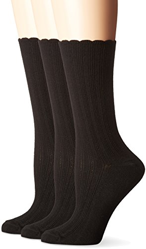 No Nonsense Women's Scallop Pointelle Sock 3-Pack, Black, 4-10