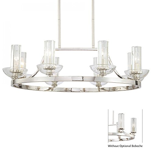 Minka Lavery 1698-613, Urban Nouveau Glass Chandelier Lighting, 8 Light, 480 Watts, Polished Nickel For Sale
