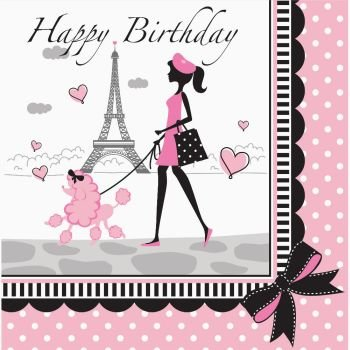 Party in Paris Happy Birthday Lunch Napkins 18 Per Pack (Paris Party Decorations)