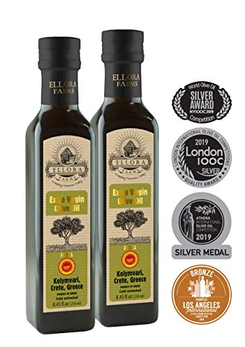 Ellora Farms | Certified Single Estate Extra Virgin Olive Oil | Traceable via lot number | First Cold Press | Kosher OU | 8.45 oz Bottles | Pack of 2