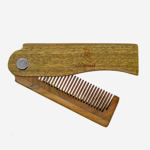 Xuanli Sandalwood Fine Tooth Folding Brush Comb for Men Hair, Beard, and Mustache Styling, Pocket sized for Easy Carry (M046)