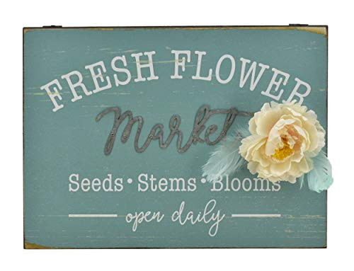 Parisloft Fresh Flower Market Wood Sign with Metal Script Word Market & a Fabric Flower Decorated 15.8 x 11.8 Inches (15.8x11.8'' Fresh Flowers)