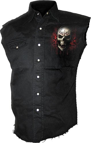 (Spiral - Mens - GAME OVER - Sleeveless Stone Washed Worker Black -)