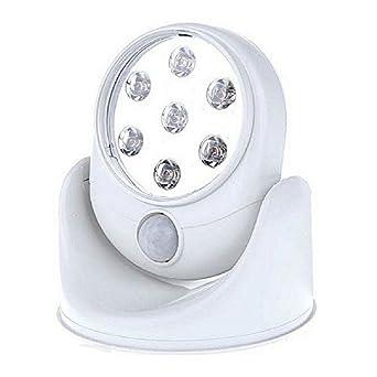 sinomann @ Sensor de movimiento luz 360 ° rotación 7 LED Detector de movimiento activado seguridad noche luces funciona con pilas para armario Pathway ...