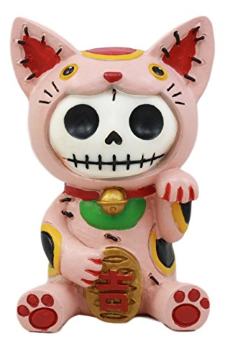 Ebros Furry Bones Pink Maneki Neko Skeleton Figurine Lucky Cat Kitten Hooded Skull Monster Collectible Sculpture Decorative Toy -