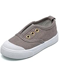 DADAWEN Baby's Boy's Girl's Canvas Light Weight Slip-On Sneakers Running Shoes