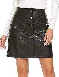 Women's Faux Leather Skirt High Waist Button Front A Line Short Mini Skirt