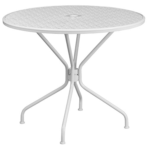 Flash Furniture 35.25'' Round White Indoor-Outdoor Steel Patio Table (Furniture Round Patio Outdoor)