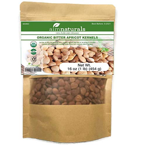 Bitter Apricot Kernels/Seeds (1LB) 16oz 454G, 100% USDA Certified Organic Bitter Apricot Seeds (Free Electronic Book) - Pesticide and Herbicide-Free, Non GMO, Vegan - Made in Turkey