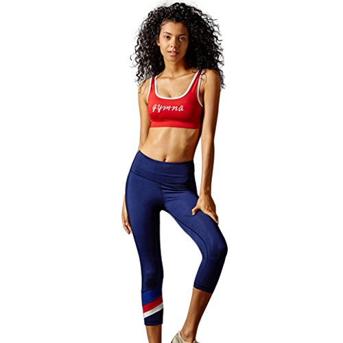 OVERMAL Capri Leggings Women High Waist Sports Gym Yoga Running Fitness Leggings Pants Workout Clothes (M, Blue)