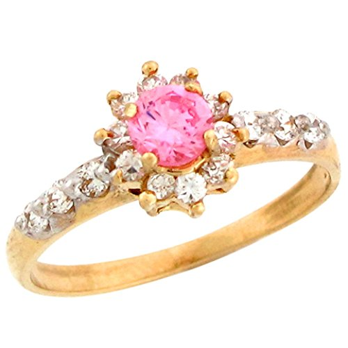 Jewelry Liquidation 10k Real Gold Pink White CZ Beautiful Ladies Simulated October Birthstone Ring