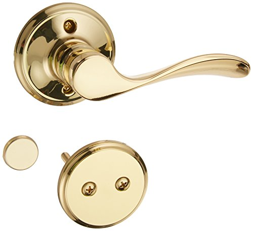 Schlage F94-CHP-Rh Champagne Dummy Lever Interior Pack with Deadbolt Trim for Ri, Polished Brass