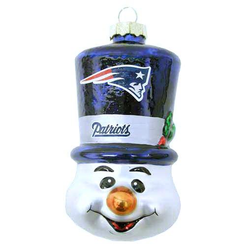 (NFL New England Patriots Blown Glass Top Hat Snowman Ornament)