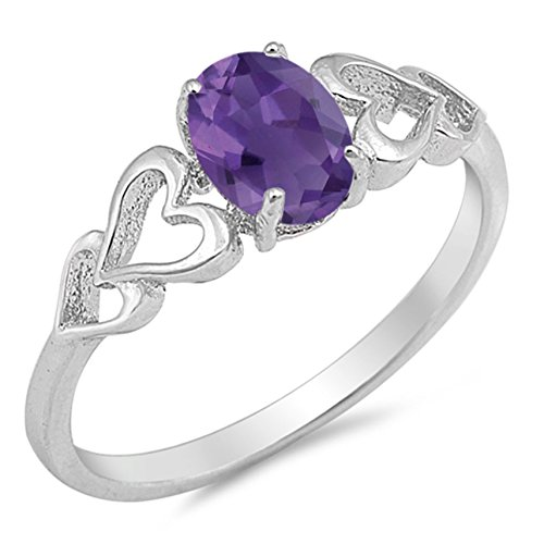 925 Sterling Silver Faceted Natural Genuine Purple Amethyst Oval Heart Ring Size 7