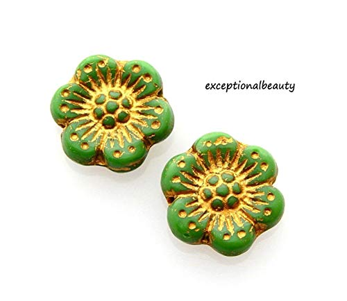 10 Opaque Green Gold Inlay Czech Glass 14mm Flat Flower Disc Daisy Focal Beads
