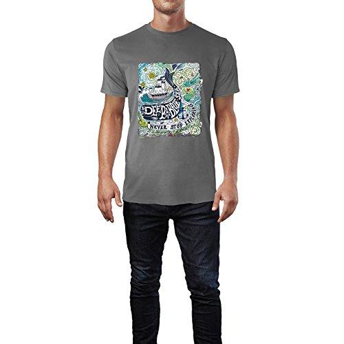 SINUS ART® Schiff in See bei Nacht Aquarell Zeichnung Herren T-Shirts in Grau Charocoal Fun Shirt mit tollen Aufdruck
