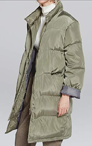 Puffer Quilted security Jacket Thicken Warm Long Slim Green Overcoat Women's Fit Down Padded EErwvxpq8