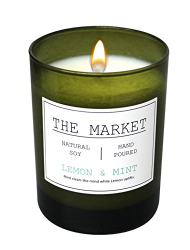 Scentsational THE MARKET Revitalizing Aromatherapy Essential Oil Scented Soy Candle (Lemon & Mint) -
