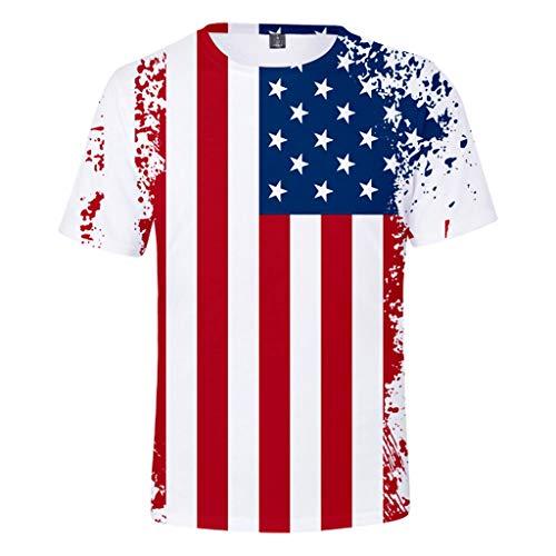 refulgence American Flag Shirt,Men's Patriotic American Flag Stripes and Stars Top Tee(White,XXL) -