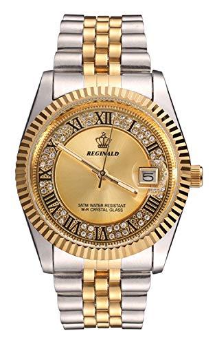 REGINALD Unisex Elegant Crystal Roman Dial with Gold Gear Bezel Women Men Waterproof Analog Quartz Watch (Gold)