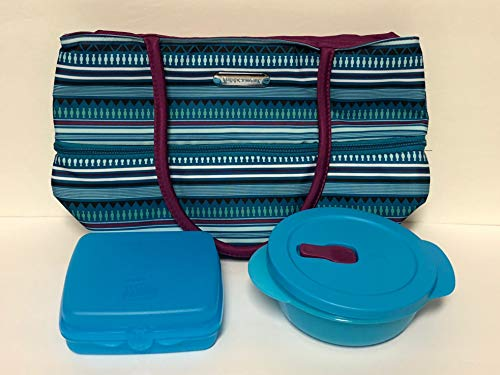 Tupperware Stylish Stripes Lunch Set Crystalwave & Sandwich Square