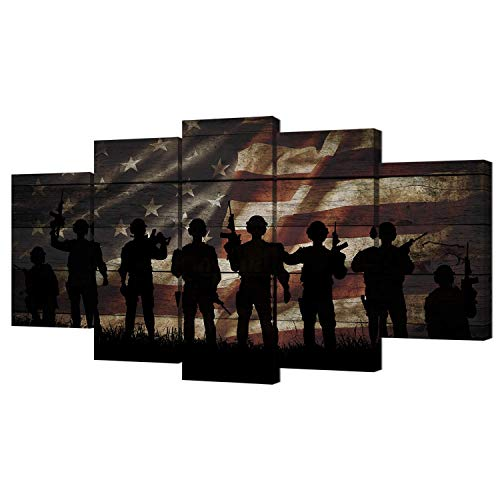 (VVOVV Wall Decor American Flag Military Soldiers Army Canvas Wall Art USA Flag Patriotic Theme Wood Textured Background Painting Artwork Giclee Canvas for Living Room Bedroom Home Wall Decor)