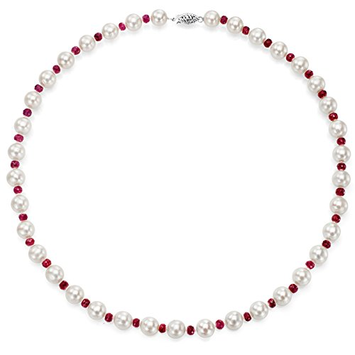(14k White Gold 8-8.5mm White Freshwater Cultured Pearl and 4-4.5mm Simulated Red Ruby Necklace, 18