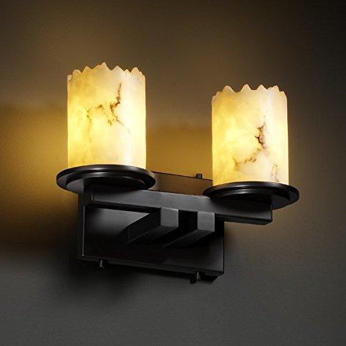 Justice Design Group LumenAria 2-Light Bath Bar - Matte Black Finish with Faux Alabaster Resin Shade