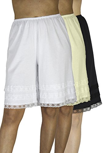 Underworks Cotton Knit Snip-A-Length Pettipants Culotte Slip Bloomers Split Skirt 3-Pack Large-White-Beige-Black