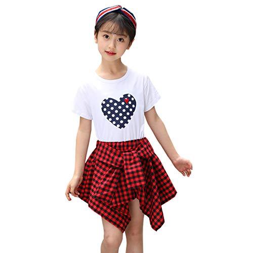 (Toddler Kids Girl Outfits 3T 2pcs White Tshirt Tops +Fashion Skirt Birthday Sets )