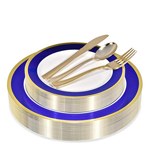Elegant Plastic Plates with Gold Plastic Silverware - 125 Piece Blue and Gold Rim Plastic Party Dinnerware for Anniversary, Bridal Shower, Birthday - Service for 25 Guests Wedding Plates -