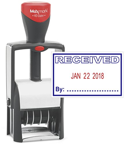 Heavy Duty Date Stamp with RECEIVED Self Inking Stamp - 2 Color Blue/Red Ink (Stamp Heavy Inking Self Duty)