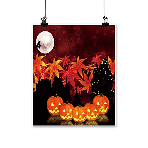 Canvas Print Wall Art Halloween Maple Background Canvas Texture Decoration,28