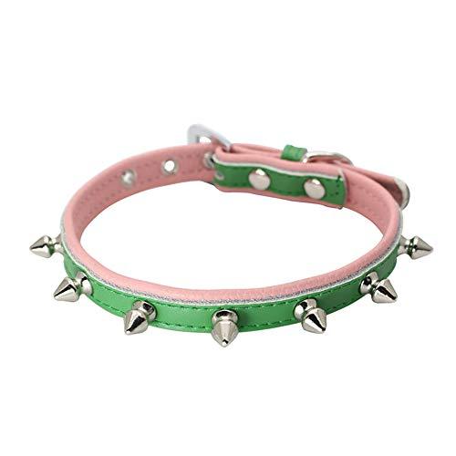 (Hpapadks Rivet Bite-Proof Dog Collar,Adjustable Leather Rivet Spiked Studded Pet Puppy Dog Collar Neck Strap Dog Carrier)