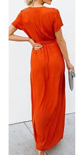 Split Red Jaycargogo Sleeve V Long Tie Neck Womens Short Maxi Waist Dress qrPwB0q