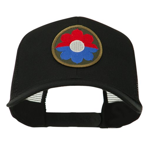 US Army 9th Infantry Division Patched Mesh Back Cap - Black OSFM (173rd Airborne Division)