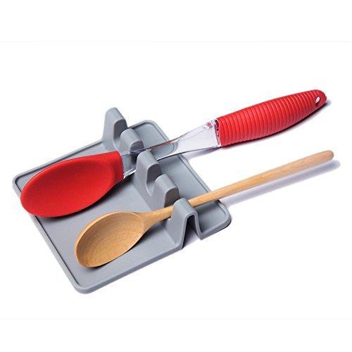 Grey Grigio Cucchiaio e Bacchette Resto di Cottura Porta Heat-Safe mestolo da Cucina con Accessori AOLVO Silicone Utensili Resto