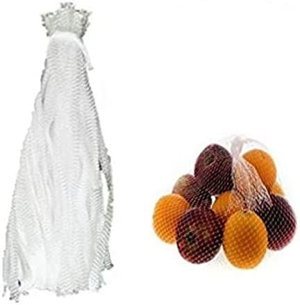 Reusable Produce Single Drawstring Mesh Bag / Plastic Mesh Produce and Seafood, Package of 100 (White)