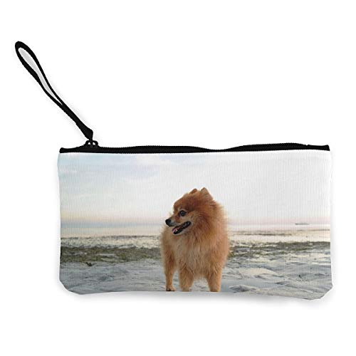 Coin Pouch Pomeranian On The Beach Canvas Coin Purse Cellphone Card Bag With Handle And Zipper (Pomeranian Coin Purse)