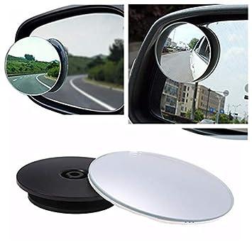 KOBWA Espejo de Punto Ciego, Espejo retrovisor Gran Angular 360 ° Redondo HD Cristal Delgado