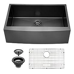 Farmhouse Kitchen Black Stainless Farmhouse Sink – Sarlai 33×22 Gunmetal Black Matte Stainless Steel Kitchen Sink Apron Front Deep Single… farmhouse kitchen sinks