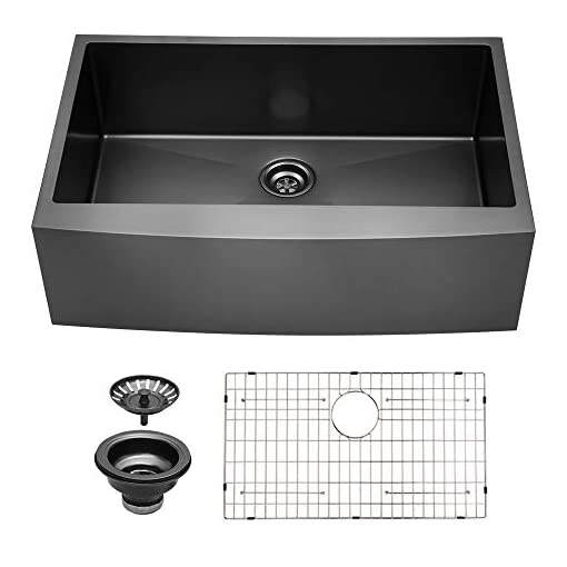 Farmhouse Kitchen 33 Black Farmhouse Sink – Sarlai 33 Inch Kitchen Sink Gunmetal Matte Black Stainless Steel 16 gauge Apron Front Sink… farmhouse kitchen sinks