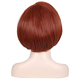 - 41kAUoQGCeL - ColorGround Short Reddish Brown Prestyled Cosplay Wig and Eye Mask for Women