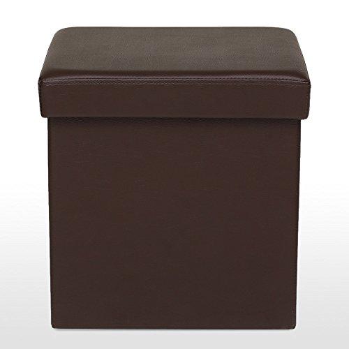 IKAYAA Faux Leather Folding Storage Ottoman Foot Stool Seat Footrest Foldable Storage Box Pouffe 14.76 14.96
